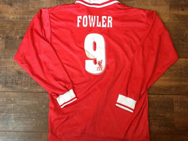1996 1998 Liverpool Fowler #9 L/s Medium Classic Football Shirt Vintage Soccer Jersey